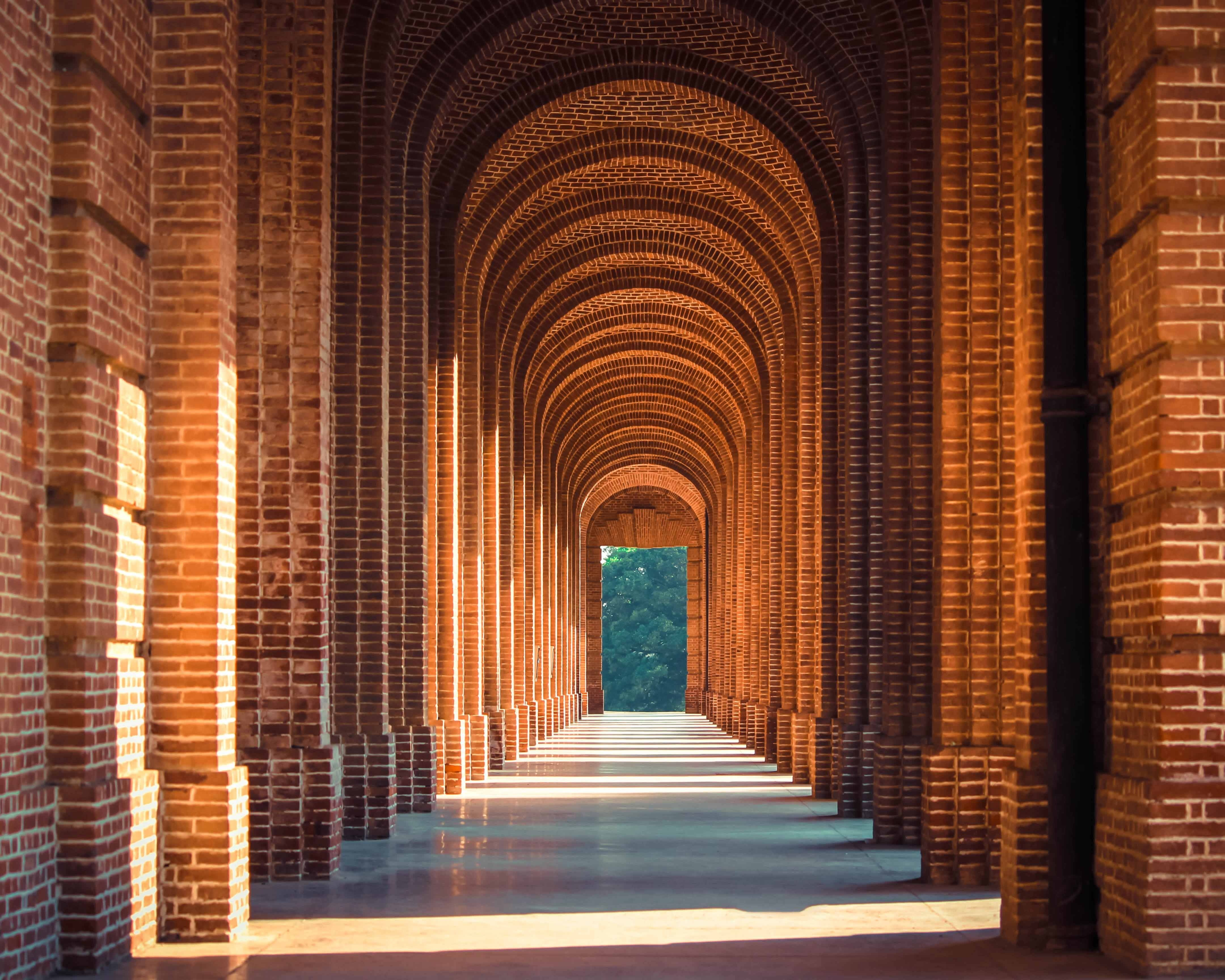College hallway with arches